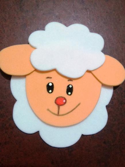 Aplique ovelha carinha no Elo7 | Arts da Gi (4DF6B0)