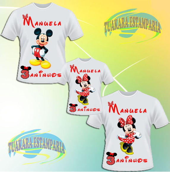 Kit 3 Camisetas - Minnie vermelha