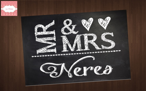 Arte Digital - Placa casamento Mr & Mrs