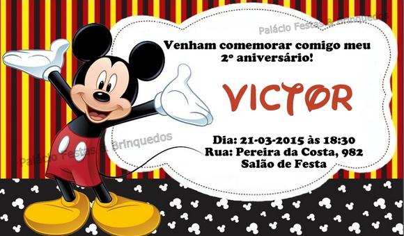 Convite Mickey | Palácio Festas & Brinquedos | Elo7