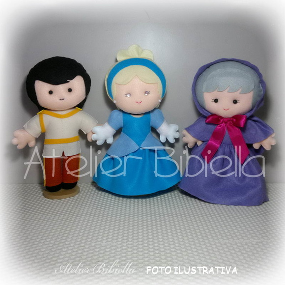 CINDERELA - Kit 3 Personagens 25 cm