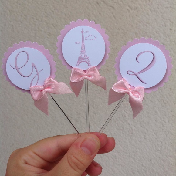 Toppers em Scrapbook Paris Rosa