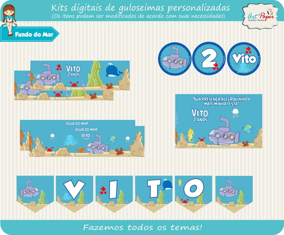 Kit guloseimas digital fundo do mar