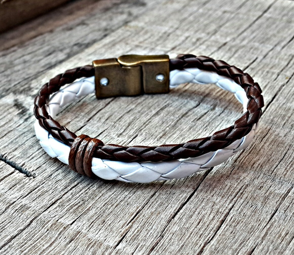 Pulseira Couro Magnetic Brown White