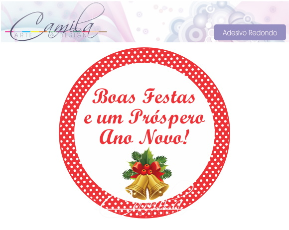 Artesanato Alentejo ~ Adesivo Redondo Natal Camila Arte& Design Elo7