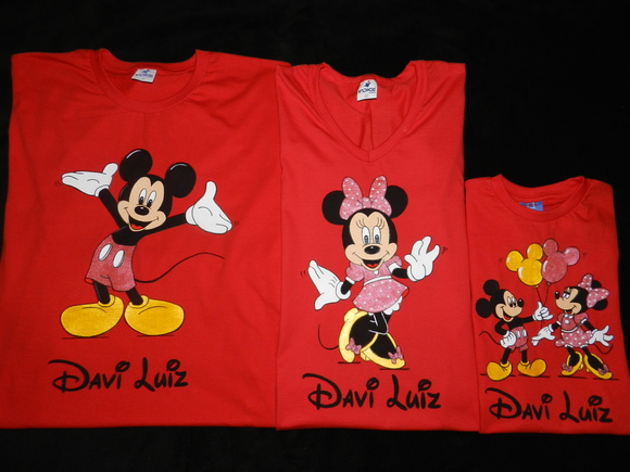 KIT c/3 Camiseta Festa-Minnie e Mickey
