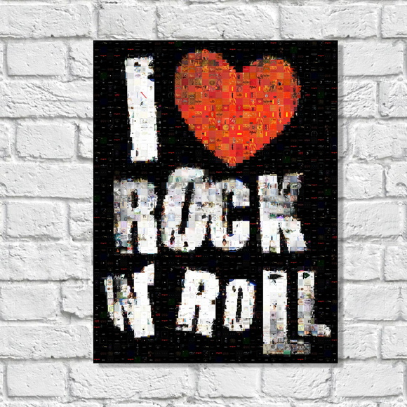 Placa Decorativa I Love Rock - Mod R15