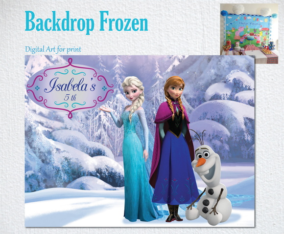 Painel Impresso FROZEN Anna Elsa Olaf