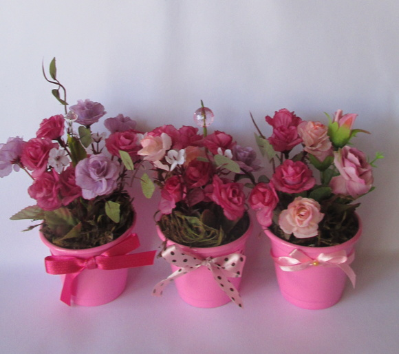 Mini cachepo Com Mini Rosas, trio