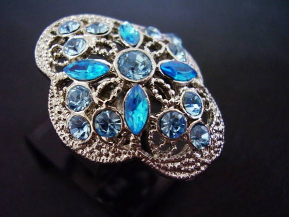 Anel Strass Azul