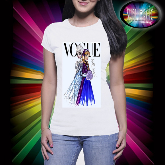 Camiseta Vogue Princesas Frozen e Ana