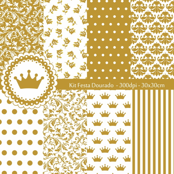 Kit Papel Digital Festa Dourado