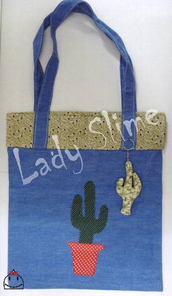 Bolsa com patch work Cactus