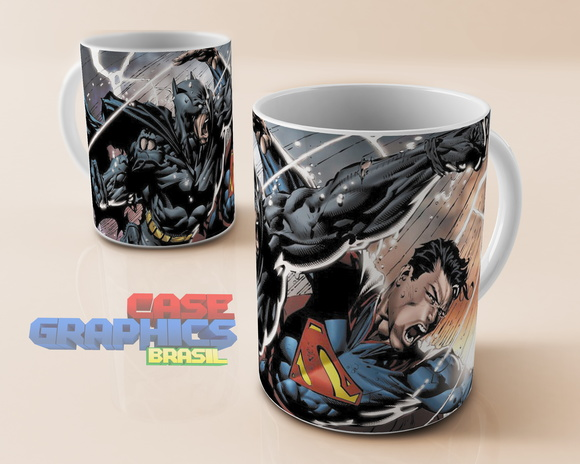 Caneca Batman vs Superman Wayne Kent DC Comics HQ Porcelana
