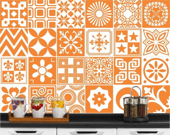Adesivo azulejo atrio laranja 15x15cm elo7 for Azulejo 15x15