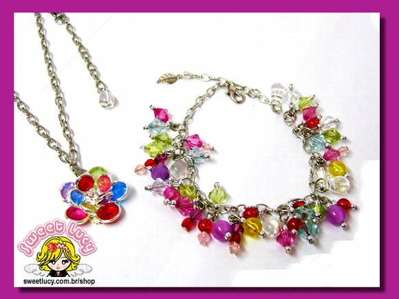 Conj. Colar e Pulseira - Mix Color