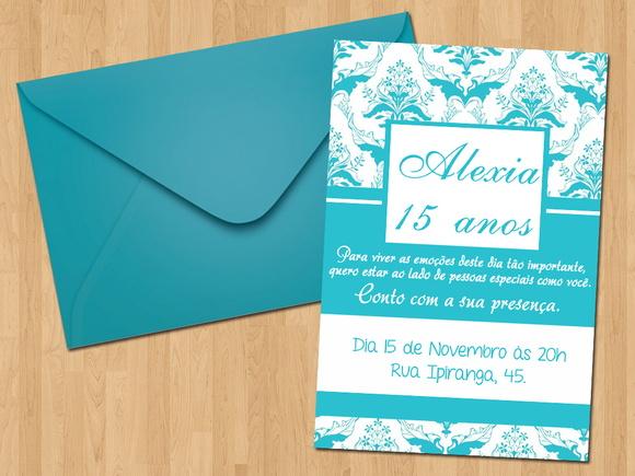 Convite De Aniversario De 15 Anos: Convite - 15 Anos Azul Tiffany No Elo7