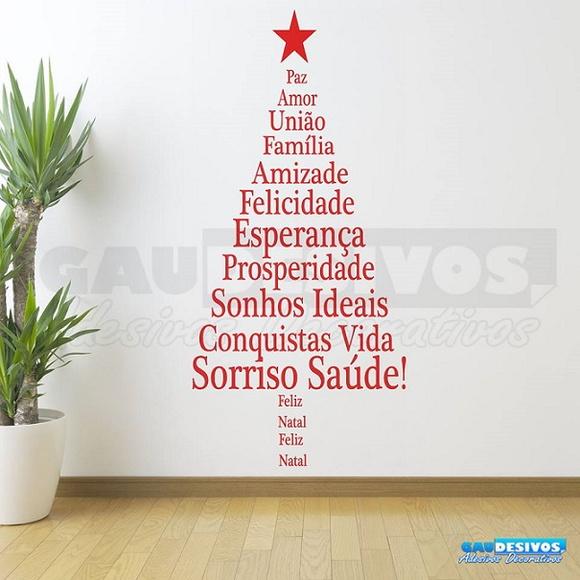 Adesivo De Parede Arvore De Natal Frase Elo7