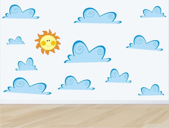 Aparador Barba E Corpo ~ adesivo infantil parede nuvem nuvens m06 no Elo7 QuartinhoDecorado (5FD93C)