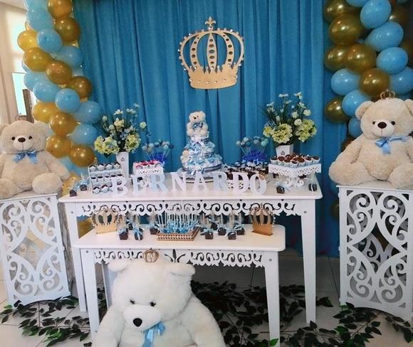 Decoraç u00e3o Urso Príncipe no Elo7 Arte em Família Decorações (606A84) -> Decoração Cha De Bebe Tema Urso