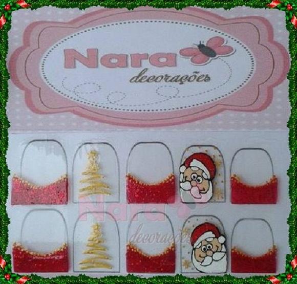 Armario Sin Puertas Niños ~ Adesivo de unha Papai noel Nara Decorações Elo7