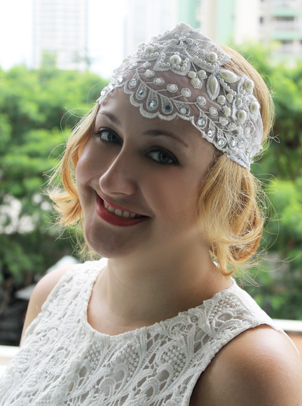 Headband 20s de Renda Branca Bordada