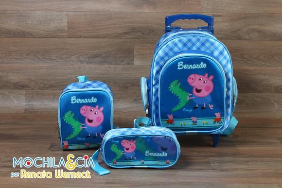 kit mochila escolar rodinha m george peppa pig mochila e