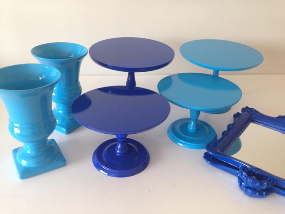 Kit 8 bandejas azul loca o alugando bolo elo7 - Mesa resina infantil ...