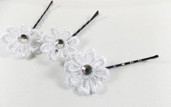 Mini Flor Branca Com Strass - Kit 6 Un