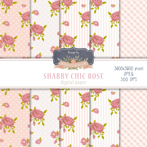 Kit Papel Digital Shabby Chic Rose