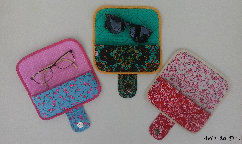 Porta culos em tecido ateli arte da dri elo7 for Porta oculos