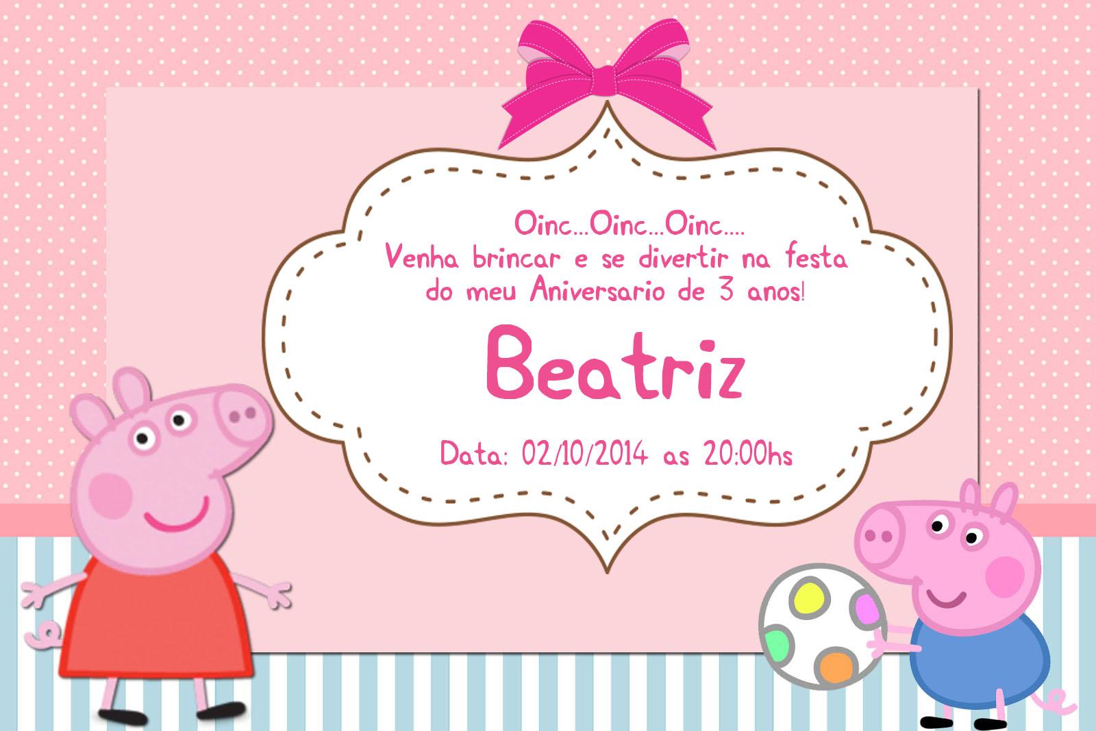 Convite Digital PEPPA PIG no Elo7 | Jheito Chic - Lembrancinhas Especiais  (678C94)