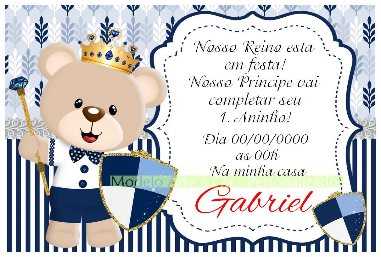 Convite Ursinho Principe No Elo7 Arte E Cia Personalizados