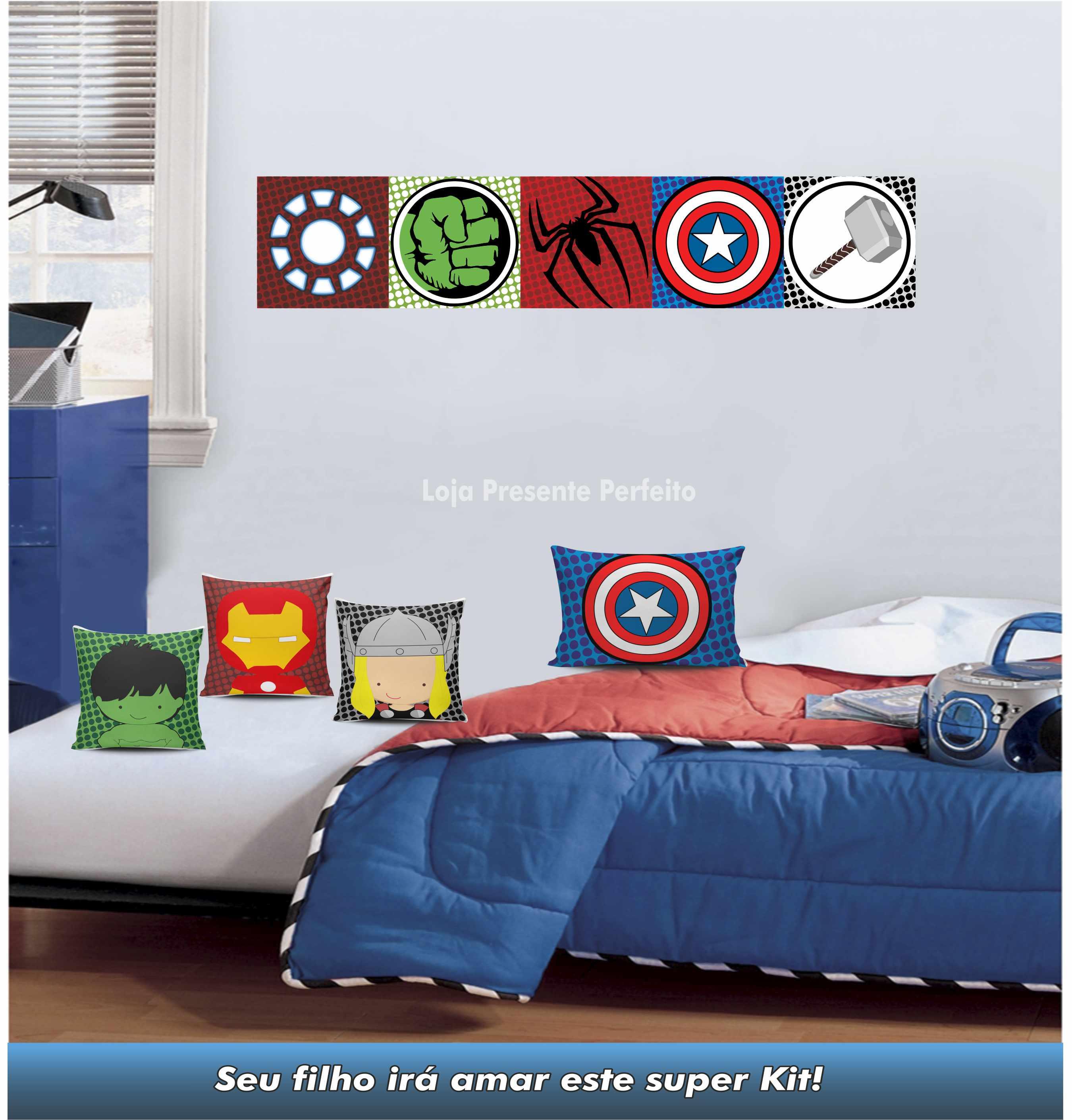 Super Kit Decorativo Quarto Menino Her I Loja Presente Perfeito  ~ Tecidos Para Parede De Quarto E Quarto Bebe Super Herois