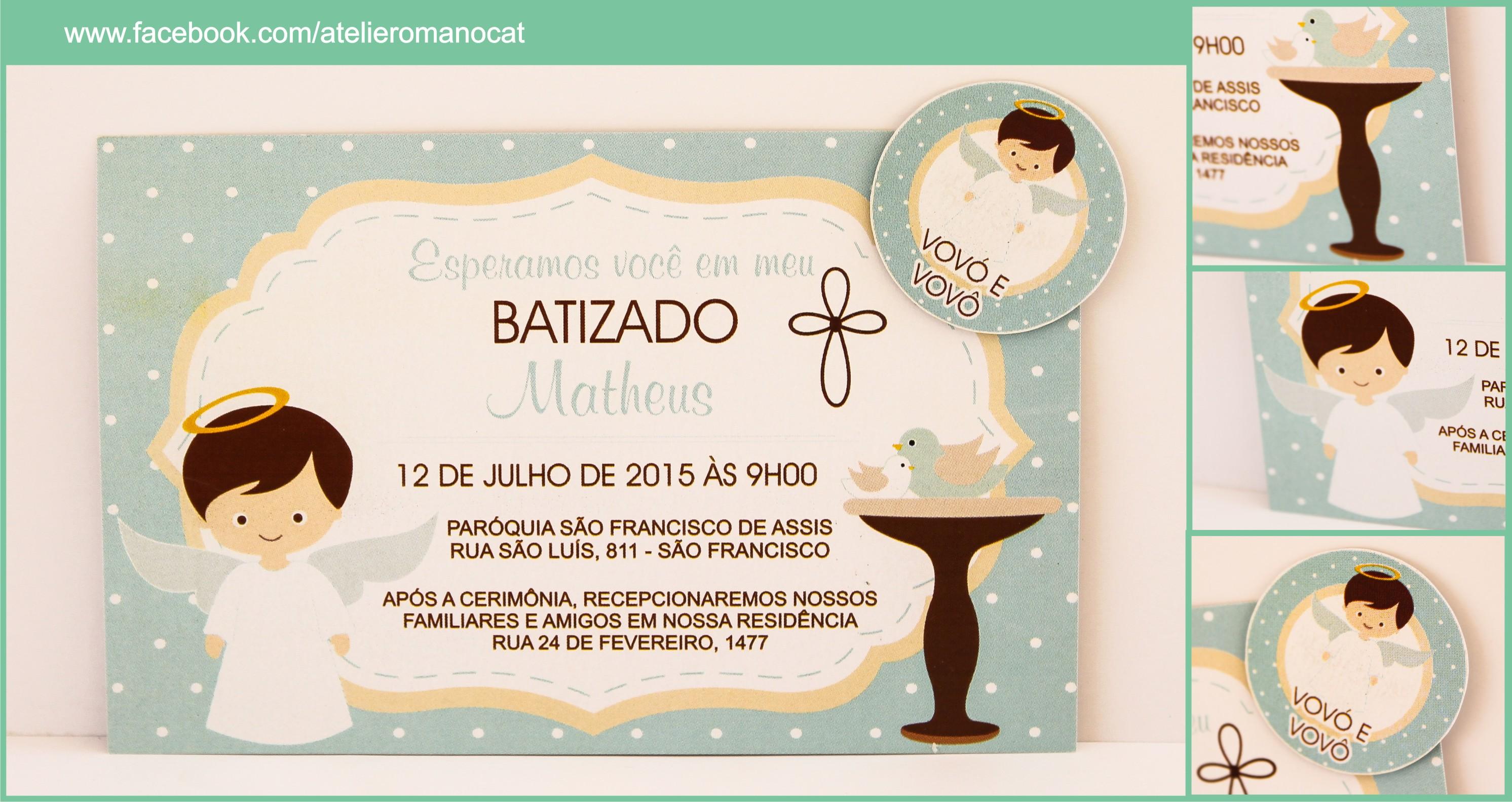 Convite batizado simples elo7 altavistaventures Gallery