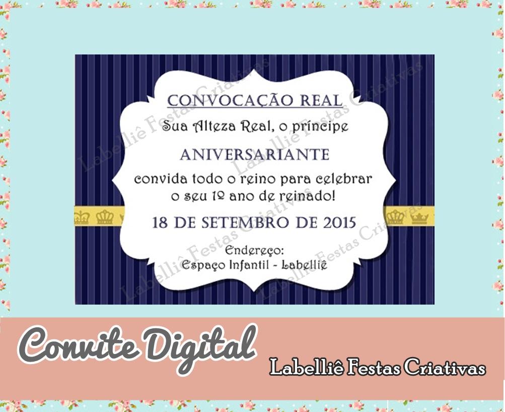 Convite Digital Realeza Azul Marinho Elo7