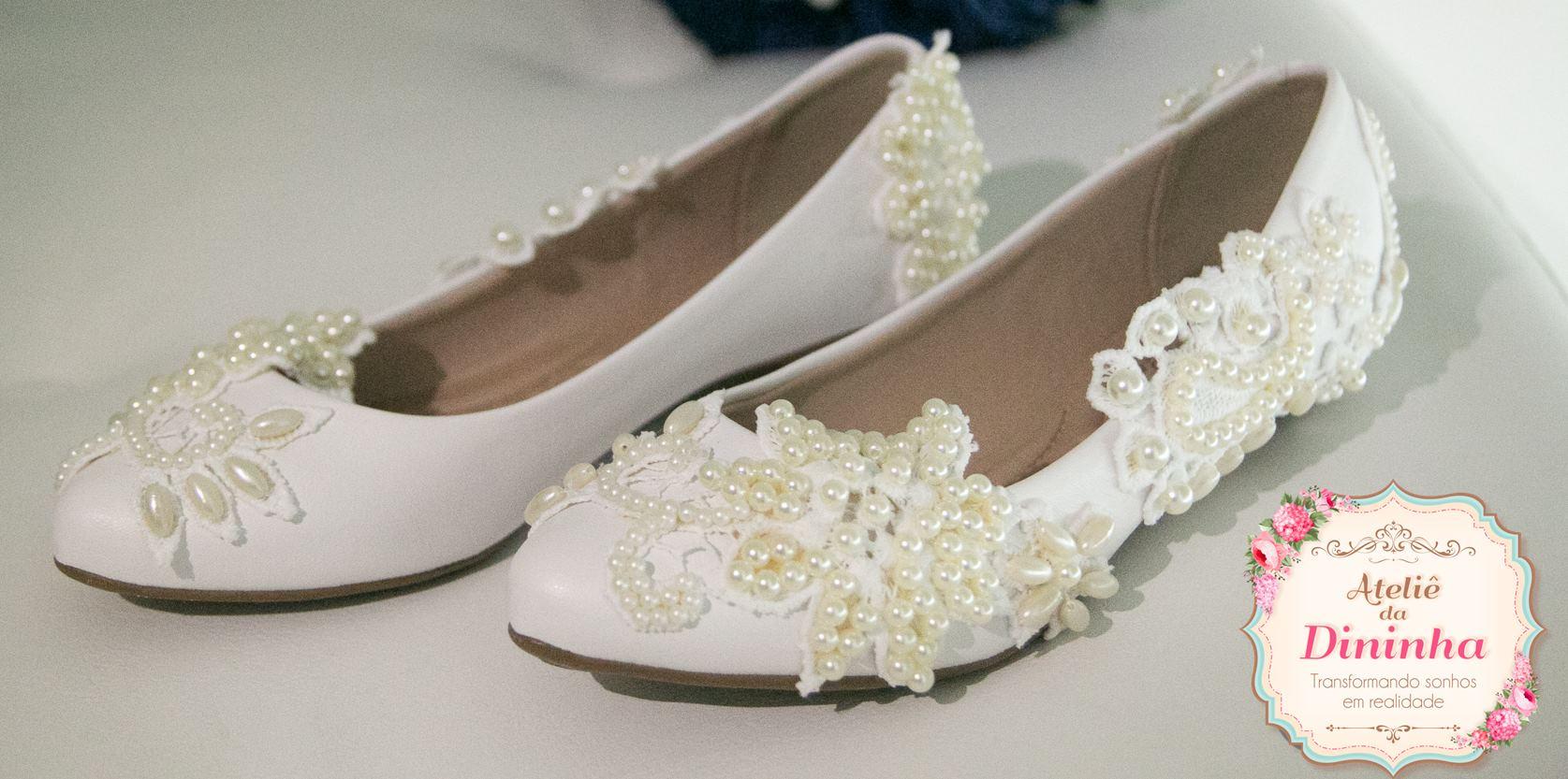 fdcf650998 Sapato de Noiva Sapatilha Perolas