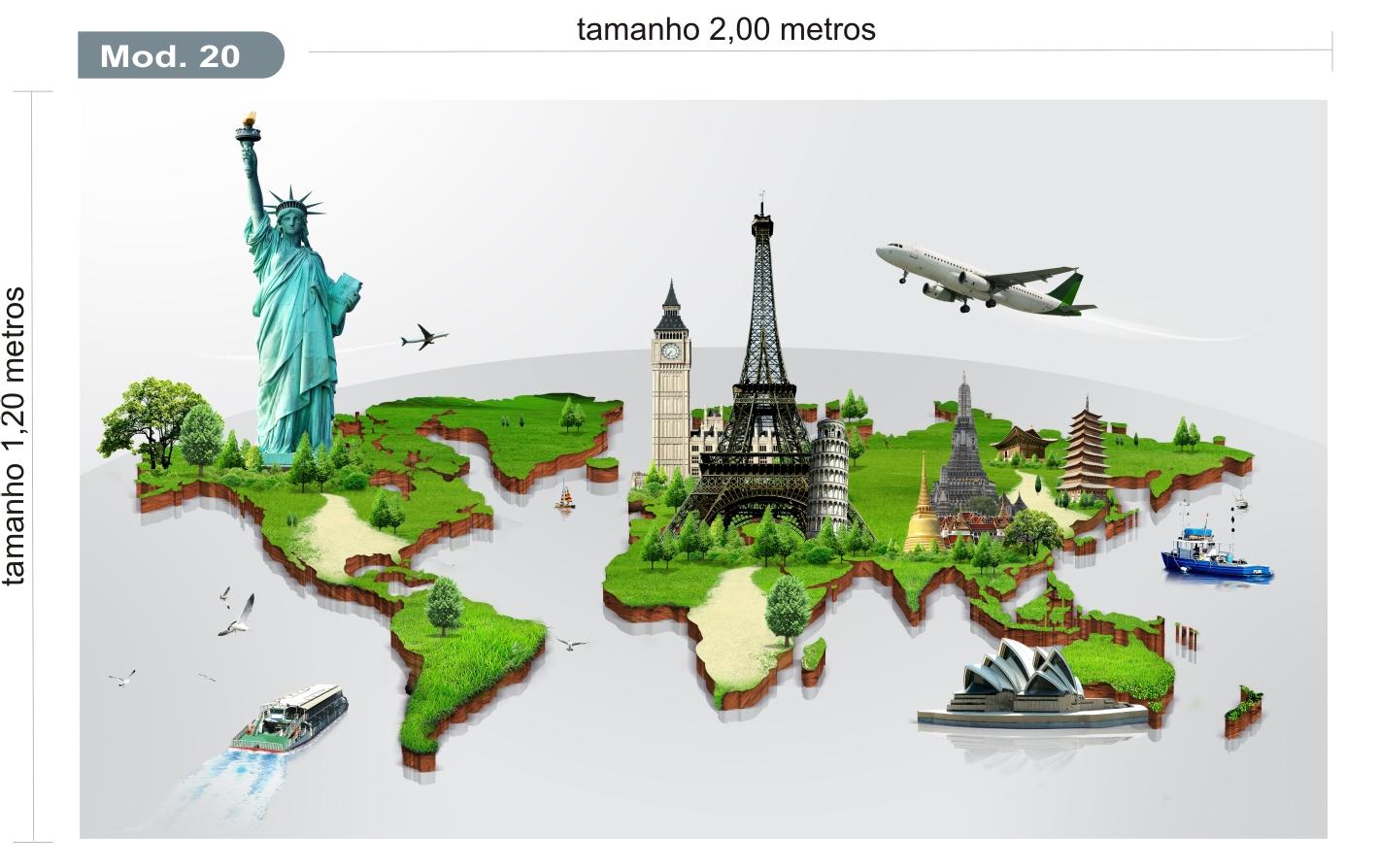 Adesivo mapa mundi modelo 20 quartinhodecorado elo7 - Papel pared mapa mundi ...