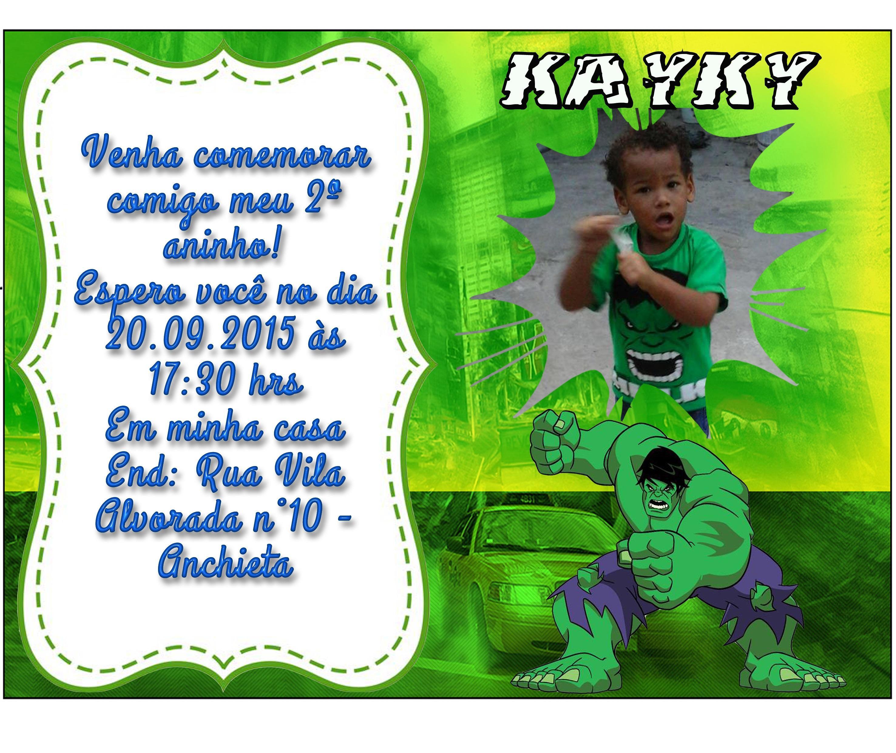 Convite Hulk Fofo Elo7