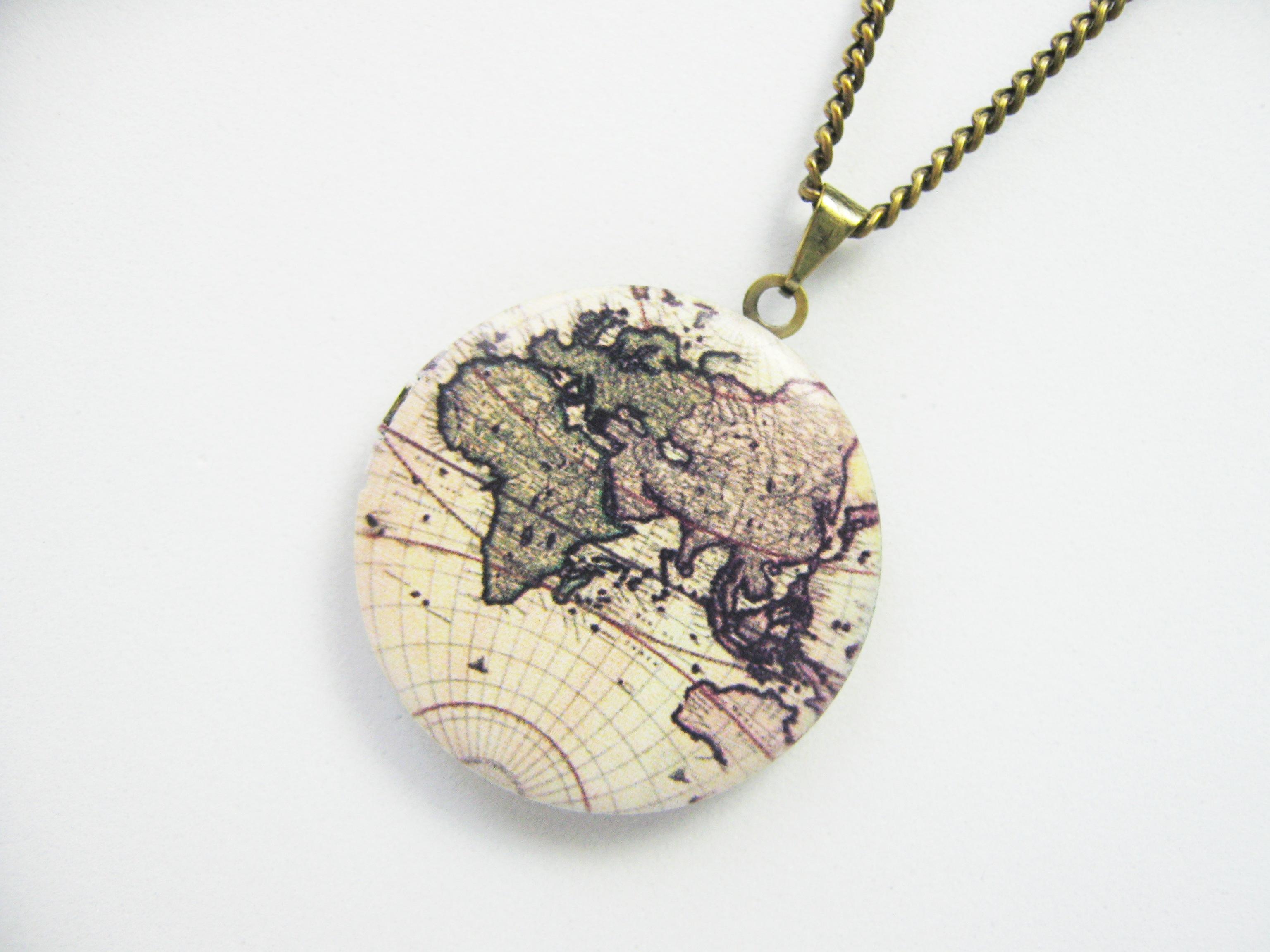 colares mapa Colar Relicário Mapa Mundi no Elo7 | Nancy Hariki (695986) colares mapa
