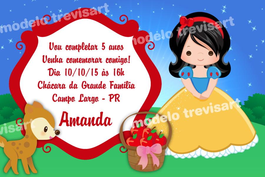 Convite Infantil 10x15 Branca De Neve No Elo7 Trevisart