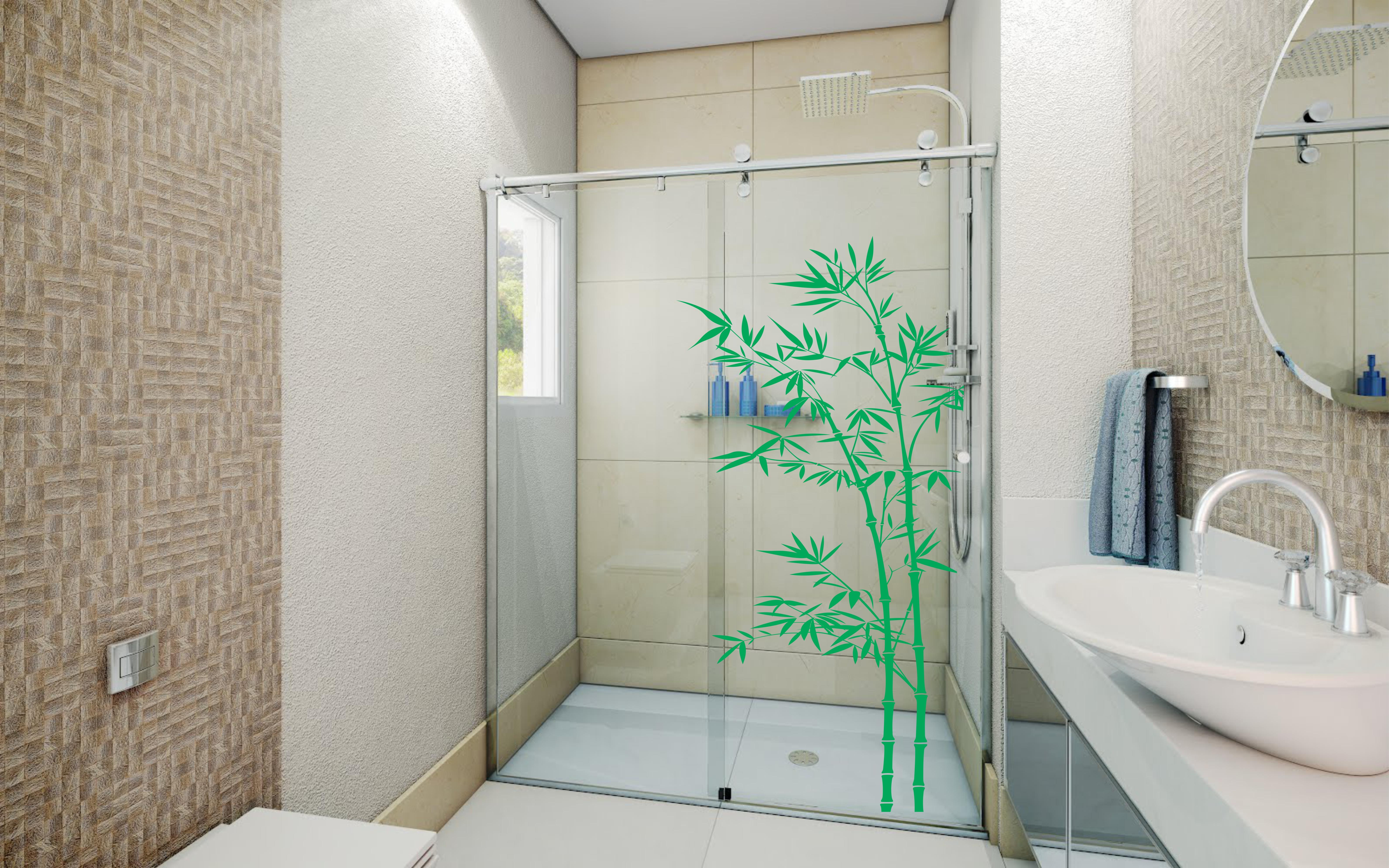 Adesivo Box Bambu Adesivos e Decorações AUM Elo7 #289B66 6365x3978 Adesivo Box Banheiro Curitiba