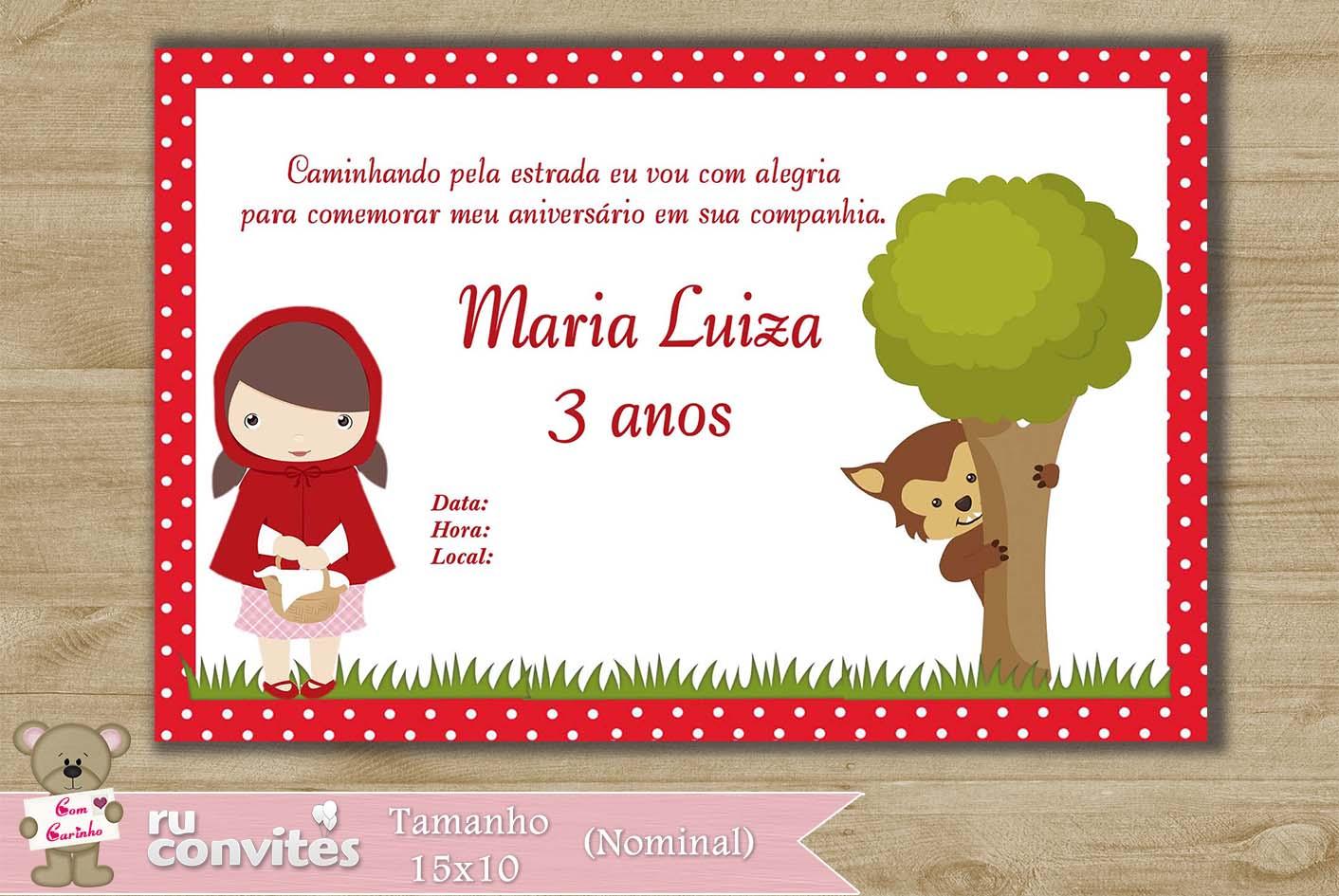 Convite Chapeuzinho Vermelho 352 No Elo7 Ruconvites 475667