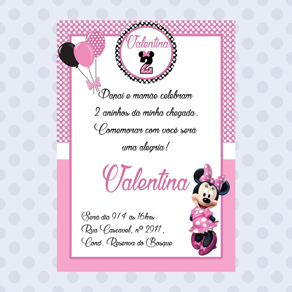 Convite Aniversário Minnie Rosa