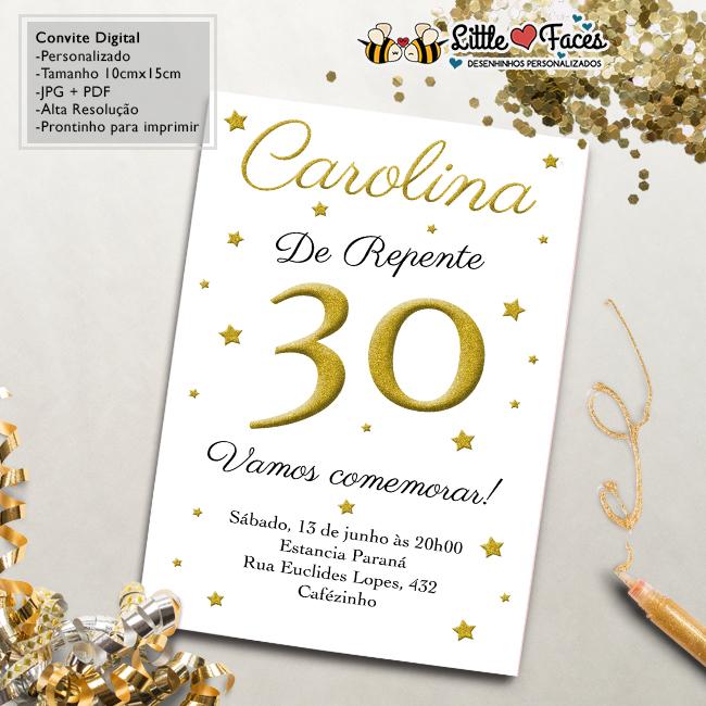 Convite Aniversário 30 Anos Digital No Elo7 Littlefaces 55f98e