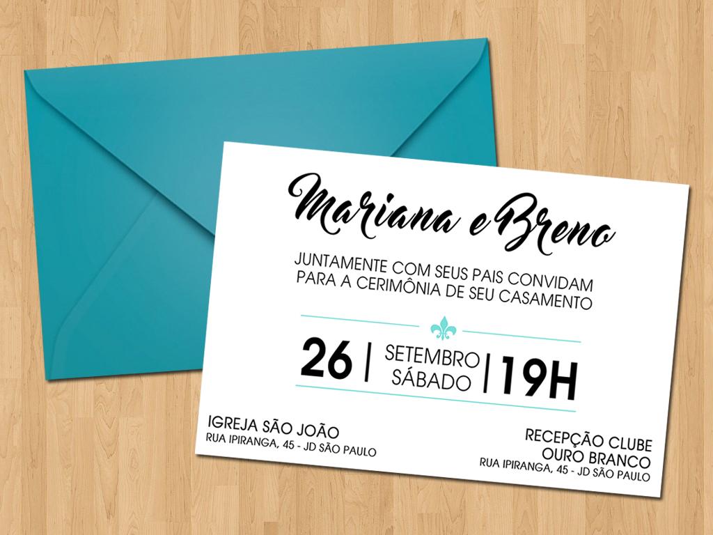 Convite Casamento Simples Azul Tiffany No Elo7 Ideal Convites