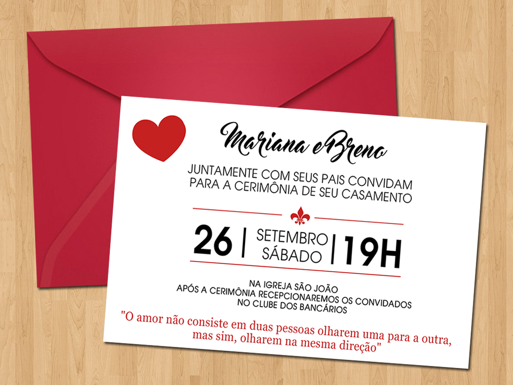 Convite Casamento Simples Coração No Elo7 Ideal Convites 6b9da5