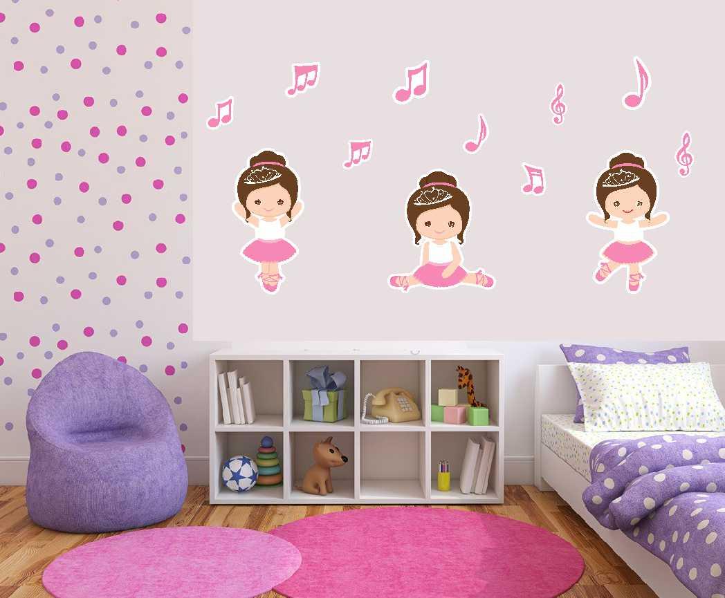 Adesivos Parede Decorativo Bailarina Print Design E  ~ Desenhos Em Paredes De Quarto E Quero Decorar Meu Quarto