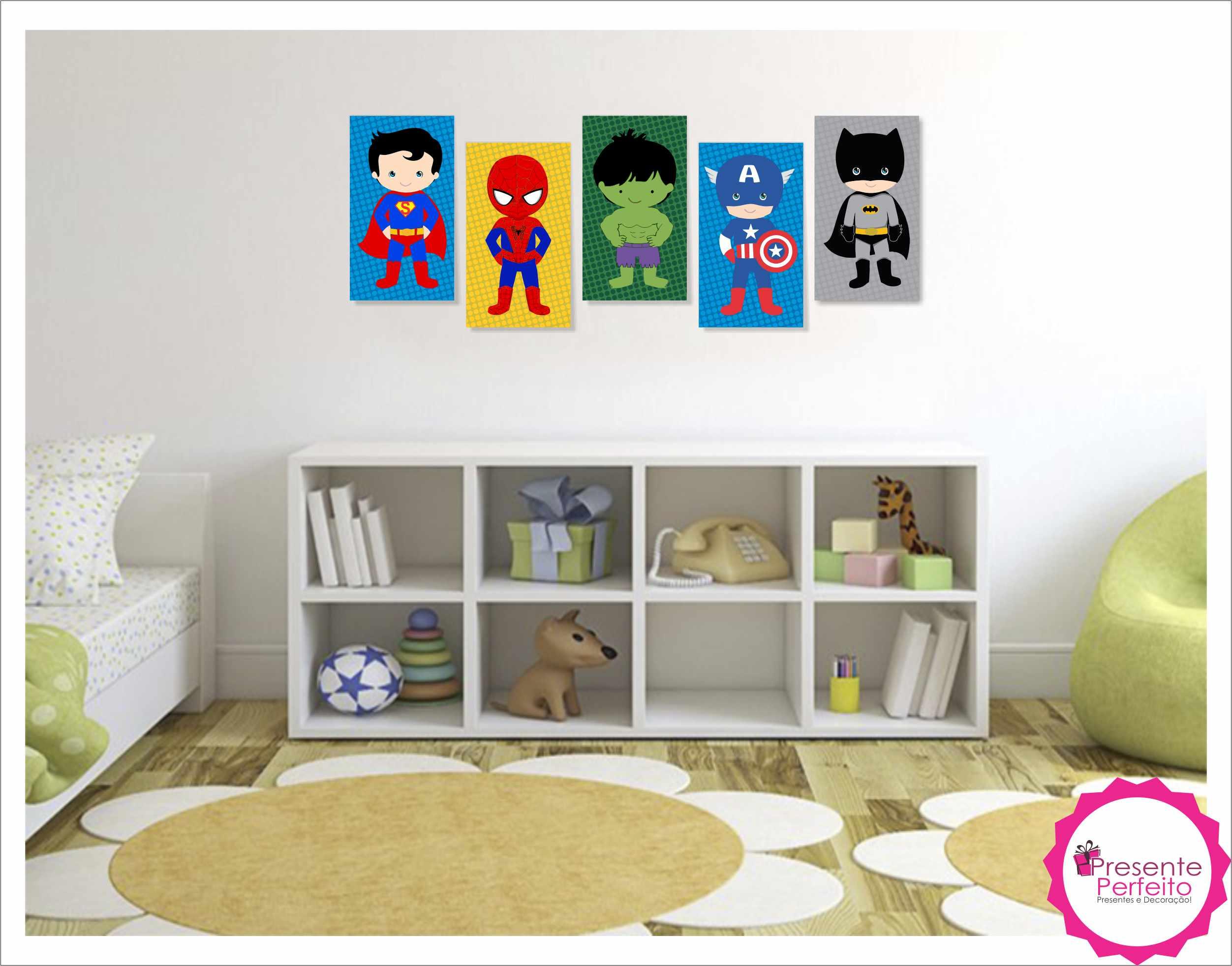 Hochwertig Heróis Baby 5 Quadros Decorativos Grande No Elo7 | Loja Presente Perfeito  (6BCD60)