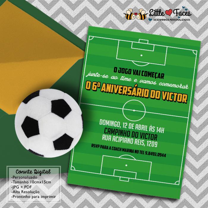 Convite Virtual Festa Futebol Elo7